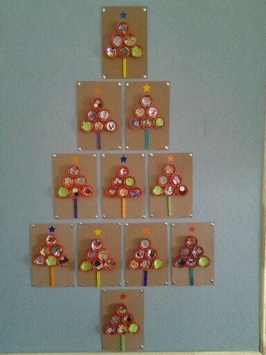 Recycled milk lid Christmas tree