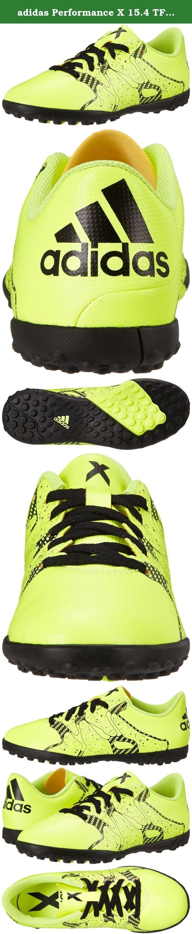 adidas Performance X 15.4 TF J Soccer Shoe (Little Kid/Big Kid), Solar Yellow/Solar Yellow/Black, 3 M US Little Kid. Kids Soccer Shoe.