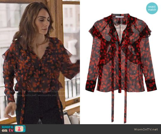 Sam's black and red floral ruffled blouse on Friends from College.  Outfit Details: https://wornontv.net/75386/ #FriendsfromCollege