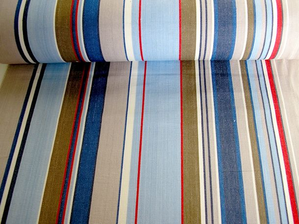 Deckchair Canvas Pale Blue, Royal Blue, Grey, Red, White Stripes | Deck Chair Fabric | Striped Deckchair Canvas: Trapeze
