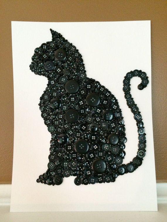 Button Cat  Black Cat  Black Button Cat  by LibertyWayDesigns