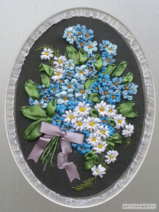 Forget-me-nots and daisies #ribbonEmbroidery