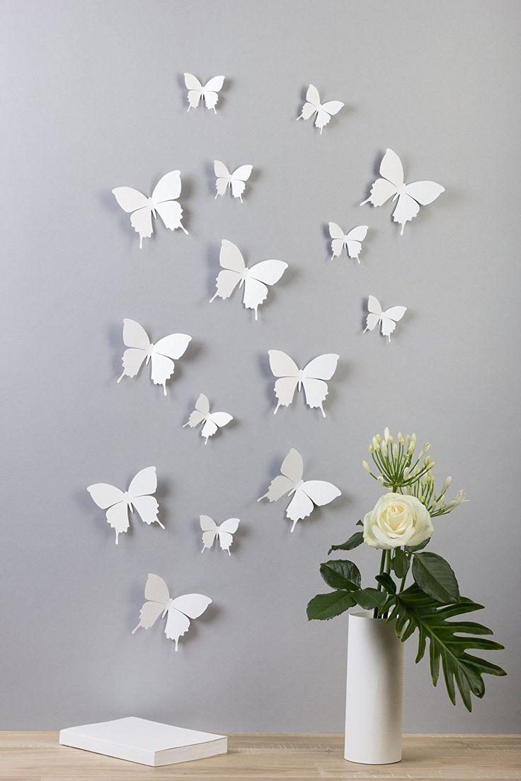 """Bilderdepot24 """"Schmetterlinge in 3D Style"""" - WEIß - 15 Stück im Set inkl. Klebepunkte - Qualitätsware direkt vom Hersteller: Amazon.de: Küche & Haushalt"""