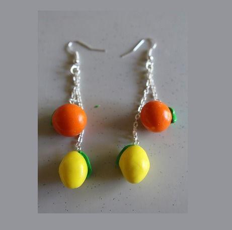 Boucles d'oreille agrumes, citron, orange : Boucles d'oreille par ludifimo