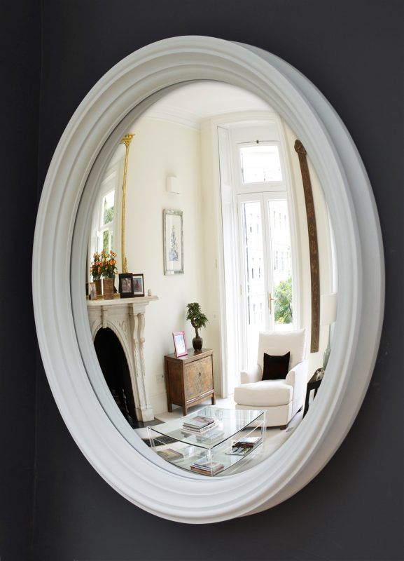 Large Lucca convex mirror in off-white finish