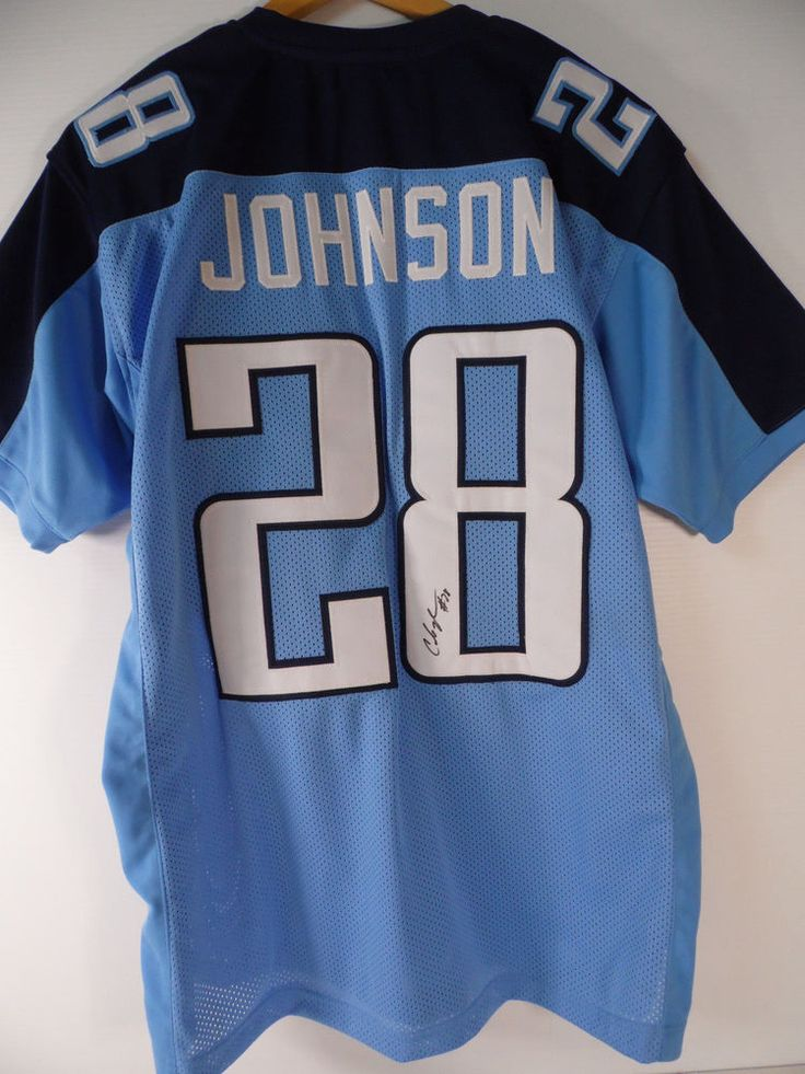 HAND SIGNED CHRIS JOHNSON TENNESEE TITANS FOOTBALL JERSEY XL #N35 #TennesseeTitans