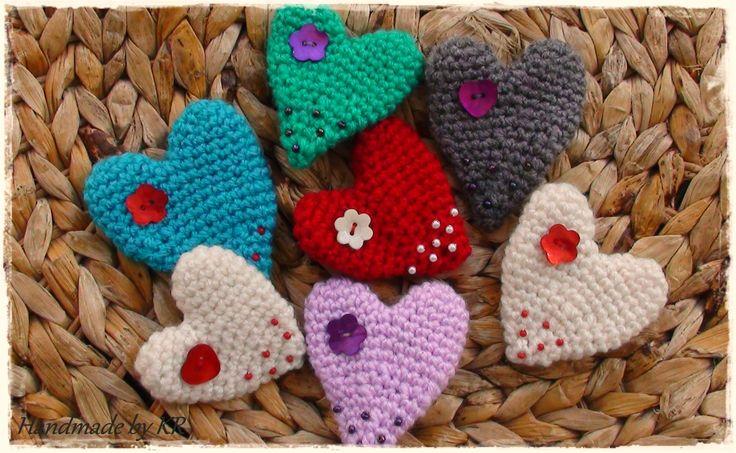 Crochet heart brooch...handmade by KR!!!