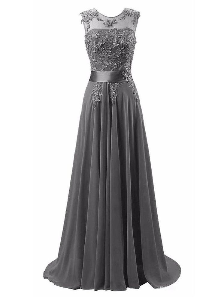A-line Chiffon Grey Scoop Beaded Mother of the Bride Dress With Appliques