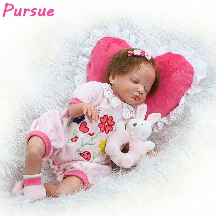 """==> [Free Shipping] Buy Best Pursue 22""""/55 cm Flower Clothes Silicone Baby Dolls for Sale Pprincess Doll Reborn bebe reborn menina de silicone menina 55 cm Online with LOWEST Price 