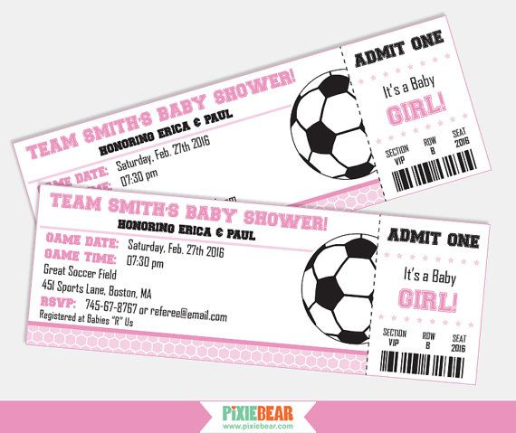 Soccer baby shower invitation in pink by Pixiebear.com