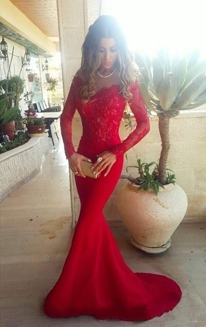 2016 Red Lace Mermaid Evening Gowns Long Sleeves Off the Shoulder Sexy Long Prom Dresses: