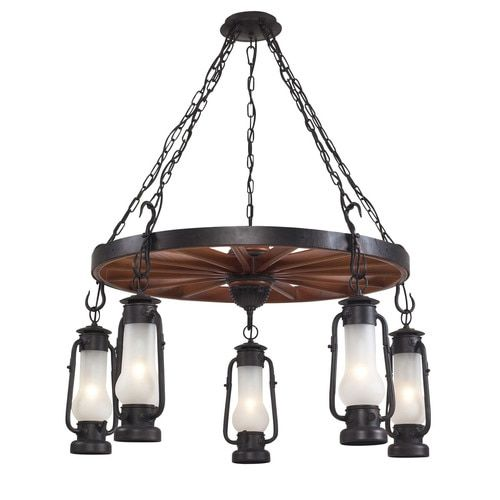 65007-5 | Stagecoach 5 Light Chandelier In Matte Black And Acid Etched Glass - 65007-5