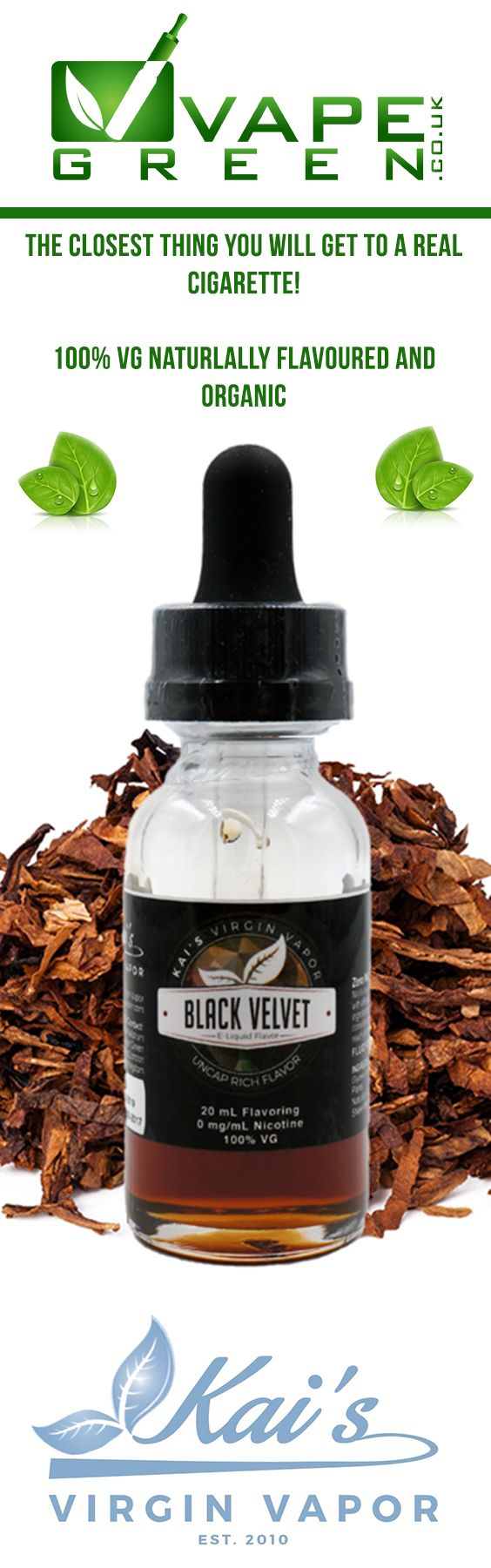 This is one of the best, if not the best tobacco flavour out there! Made from real tobacco extract this 100% VG & Organic E-liquid is a must try if you have cravings for a good tobacco vape. #vape #vaping #eliquid #ejuice #tobacco #cigarette #100vg #organic #kaisvirginvapor #vapegreen #vapeuk #ukvapers