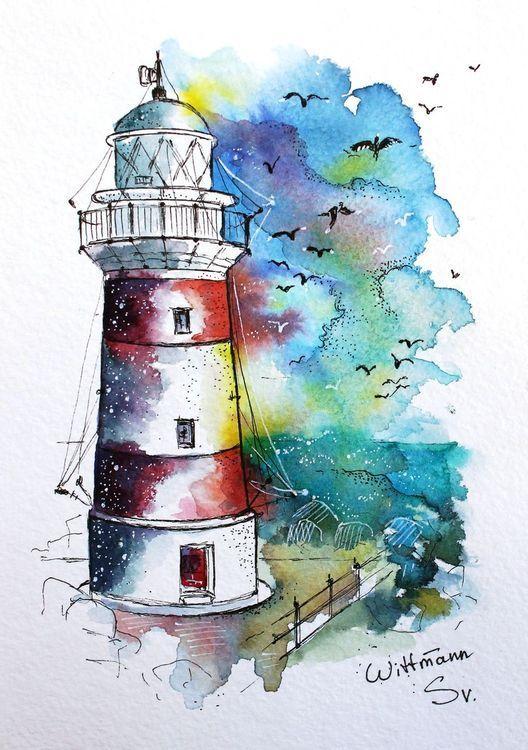 "Leuchtturm # 2. Original Aquarell auf Aquarellpapier 15×21 cm. Bunte Aquarellgrafik. 6 ""… – Malerei Moon"
