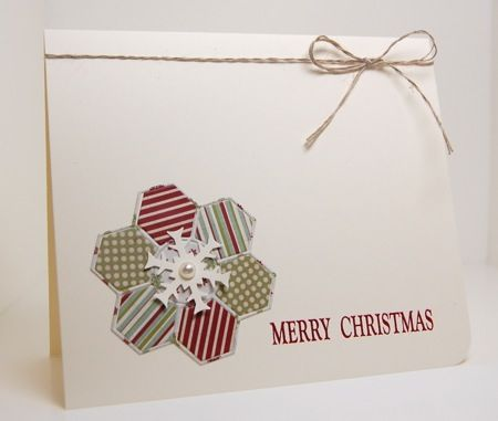 Christmas hexagon flower with a sweet snowflake on top...luv the clean and simple look too...