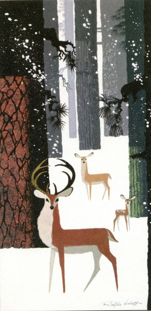 """Winter Wonderland"" by Ralph Hulett, illustration, retro, deer, stag, nature, forest, snow, print, collage"