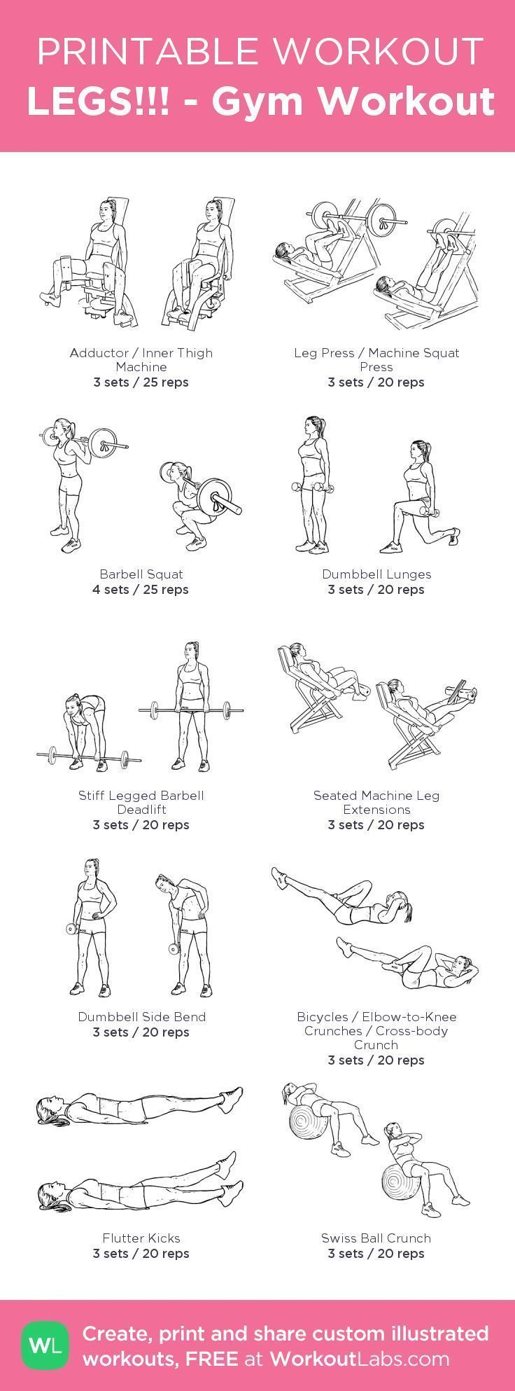 LEGS!!! - Gym Workout – my custom workout created at  • Click through to download as printable PDF! #Gymworkouts