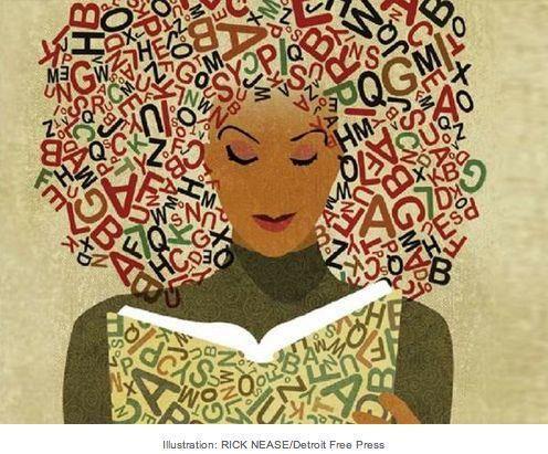 reading woman, illustration by rick nease  http://sunnydaypublishing.com/books/