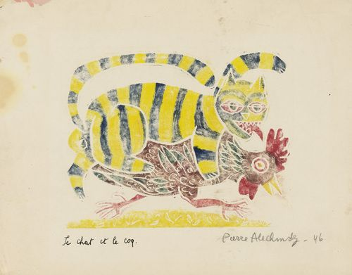 Pierre Alechinsky. The Cat and the Rooster (Le chat et le coq) from Aesop's Fable (Fables d'Ésope). 1946. One from an album of five linoleum cuts and monotypes.