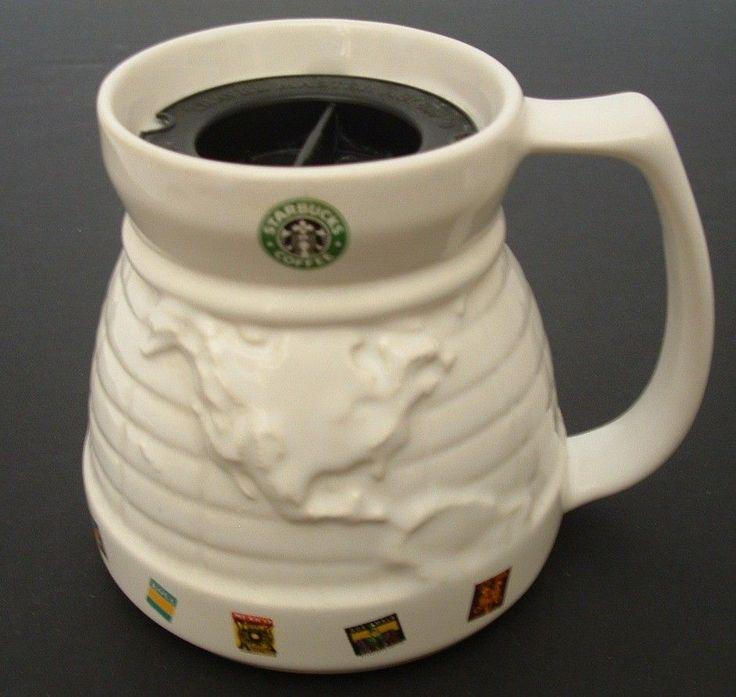 Starbucks Wide Mug World Globe Large White Cup Traveler