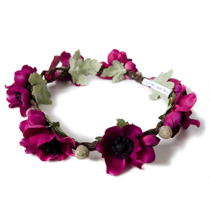Anemone Floral Crown - Burgundy,