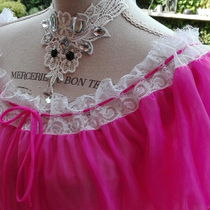 Camicia da notte shabby chic vintage rosa fucsia Pizzo nightgown woman tulle