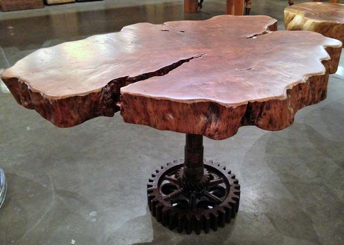 A custom side table made from a cross cut section of reclaimed lychee fruit  wood tree - 60 Best Products We Love Images On Pinterest