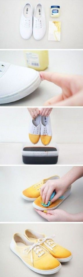 Diy ombre shoes,maybe dif color,but amazing idea.or a mix of colors from back and front