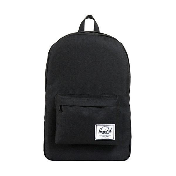 Herschel Supply Co. Classic Backpack (53 CAD) ❤ liked on Polyvore featuring bags, backpacks, black, school & day hiking backpacks, knapsack bags, black bag, rucksack bag, herschel supply co backpack and black backpack