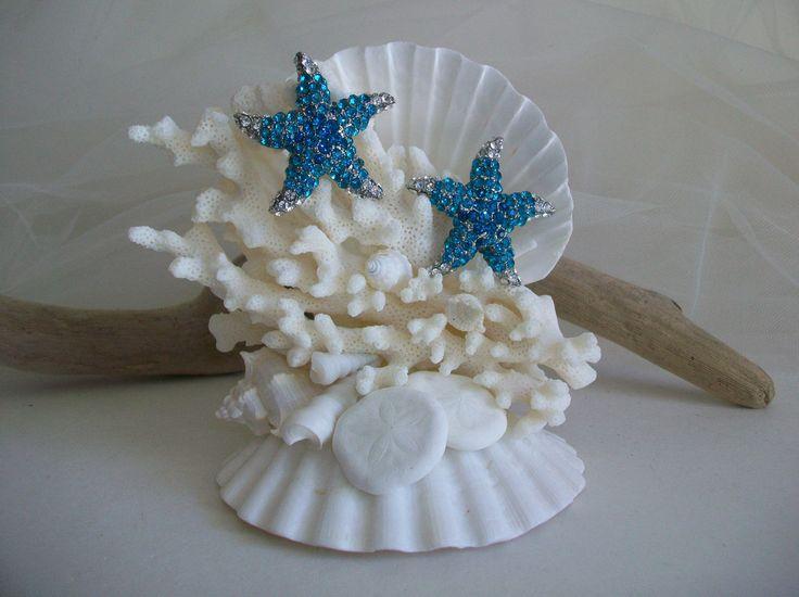 Beach Theme Wedding Starfish Cake Topper, Teal Blue Turquoise Jeweled Starfish Seashell Cake Topper, Starfish Seashell Bridal Decor by SeashellBeachDesigns on Etsy
