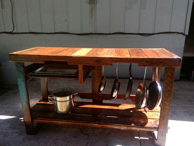 Kitchen Prep And Storage Table From Reclaimed Pallets