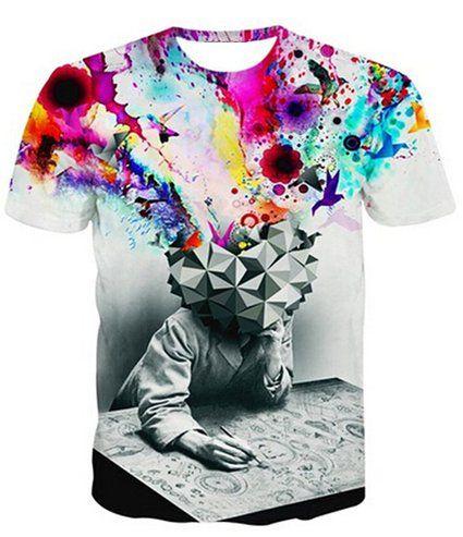 Uideazone Men's Creative Graffiti Shirt Brain Explosion Galaxy Graphic Tee