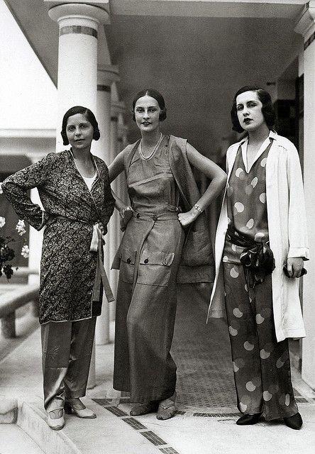 Casual Schiaparelli lounge wear fashions, 1929. #vintage #1920s #fashion #designers