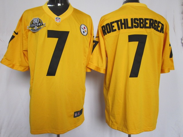 Steelers 7 Roethlisberger Game yellow 80 Anniversary Nike NFL Jersey Jersey  Pinterest Pittsburgh steelers 48965db52