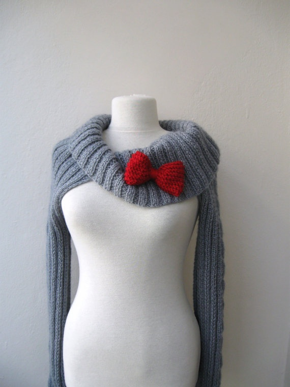 this is so cute....crocheted shrug. love the red bow.