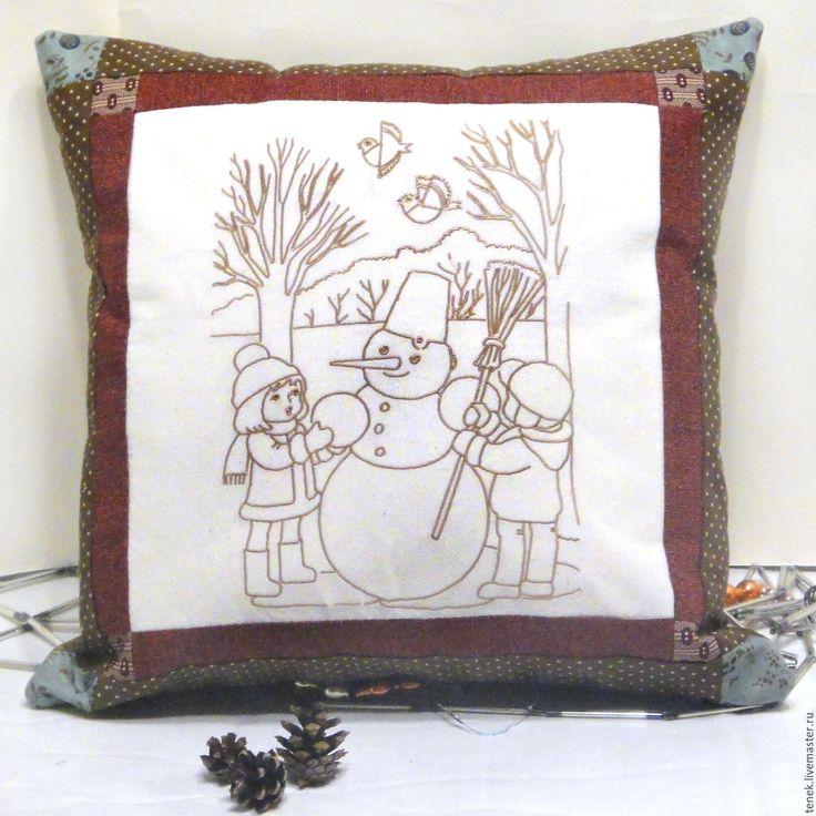 Купить Декоративная подушка диван Снеговик Рождество подарок новый год 2017 - декоративная подушка