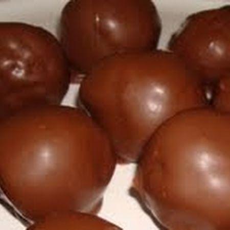 CHOCOLATE COVERED RICE KRISPIE PEANUT BUTTER BALLS