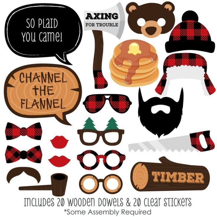Amazon.com: Lumberjack - Channel the Flannel - Buffalo Plaid Photo Booth Props Kit - 20 Count: Toys & Games