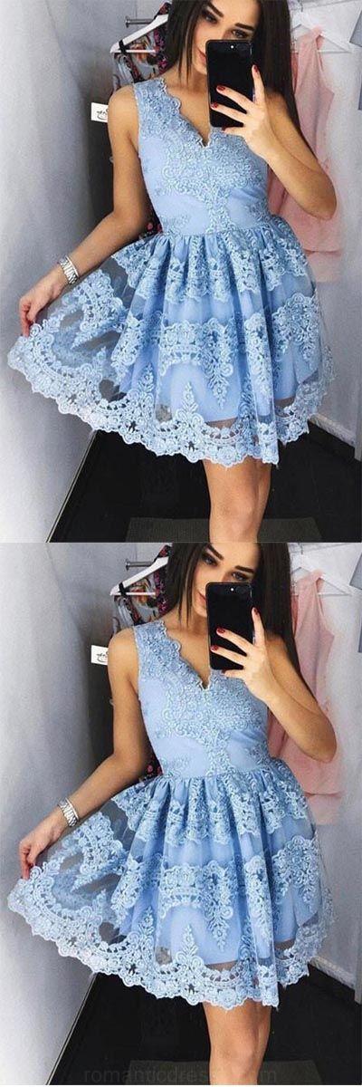 Prom Dresses Blue, Prom Dresses On Sale, Prom Dresses Short, Blue Prom Dresses, #shortpromdresses, Cute Prom Dresses, #bluepromdresses, Lace Prom Dresses, Short Prom Dresses, Chiffon Prom Dresses, High Neck Prom Dresses, #lacepromdresses, Short Blue Prom Dresses