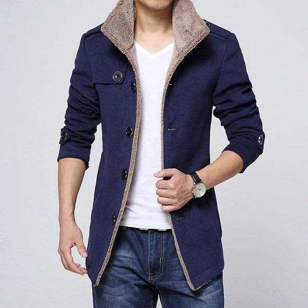 Trendy Gentleman Slim Long Coat Outercoat of Stand Collar/79440 via AmaSell. Click on the image to see more!