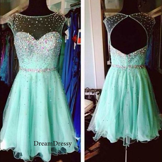Short blue tulle homecoming dresses, scoop open back beading homecoming dresses on sale 8482