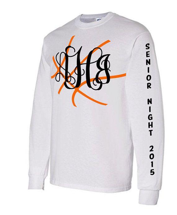 Senior Monogram Basketball Long Sleeve Shirt, Senior Night Basketball Shirt, Personalized Basketball Tee