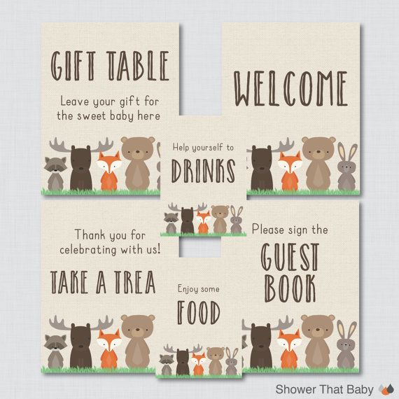 Printable Woodland Baby Shower Table Signs SIX by ShowerThatBaby