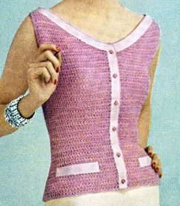 Scoop Neck Blouse crochet pattern from Cottons You'll Love, originally published by Coats & Clark's O.N.T., Book No. 313, from 1955.