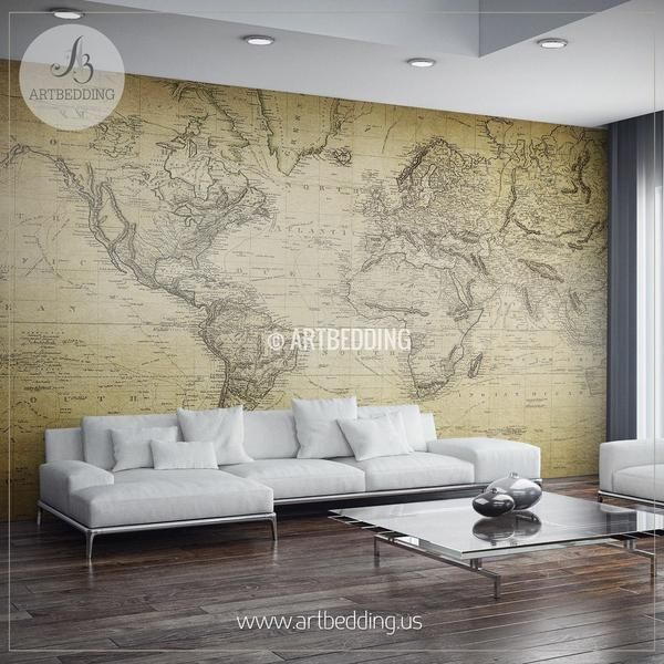 Vintage World Map From 1814 Wall Mural Self Adhesive Peel World Map Decor Wall Murals Map Wall Decor