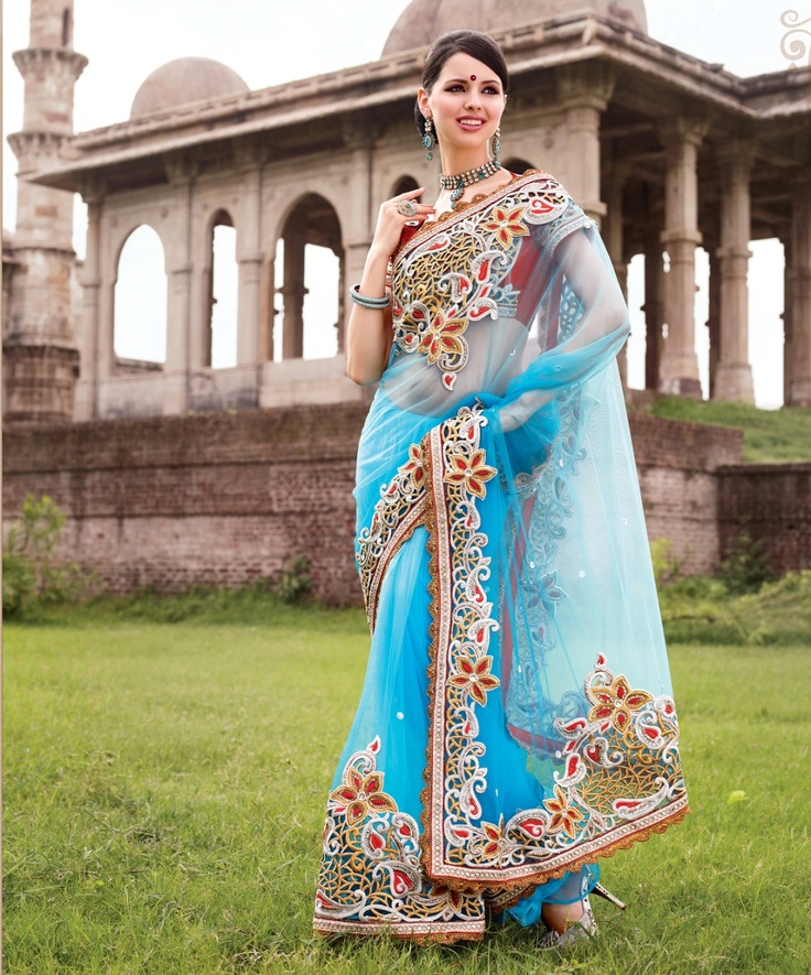 Refreshing bright blue colour saree crafted on net, dupian and satin material.    For more details visit www.ashika.com