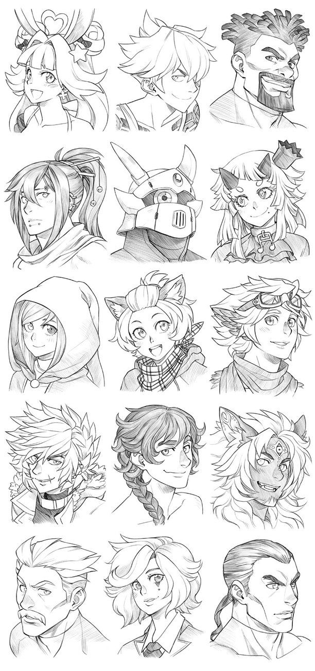 151130 - Headshot Commissions Sketch Dump 11 by Runshin