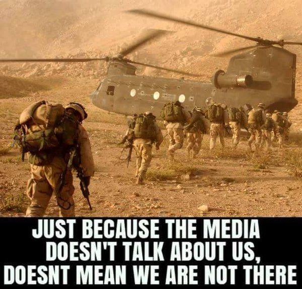 So the picture may be from early on in Op Enduring Freedom, but the point still is true. We, the US mil, are somewhere in the world, usually multiple places defending the nation's freedoms so that idiots can try to give them away.....