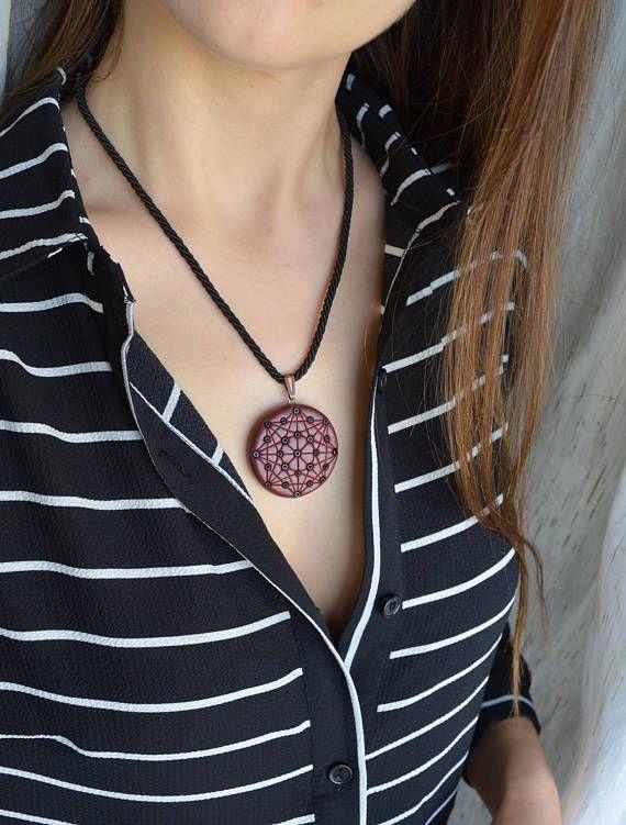 Mandala pendant necklace Polymer clay boho geometric jewelry