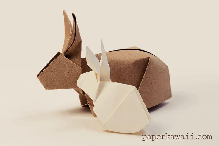 Origami Bunny Rabbit Tutorial, Learn how to fold a cute 3 dimensional bunny for easter! These pretty rabbits stand up and would make great table decorations and gifts!  #bunny #cuteorigami #rabbit